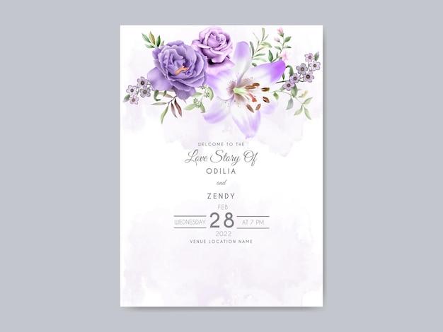 Zaproszenie na ślub z pięknym kwiatowym wzorem akwareli