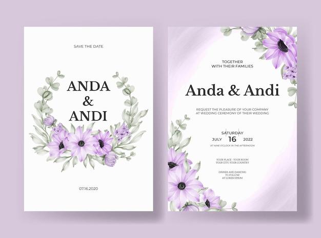 Zaproszenie na ślub z pięknym miękkim fioletowym kwiatem i liśćmi