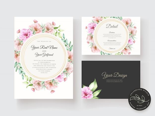 Zaproszenie na ślub z pięknym motywem kwiatowym