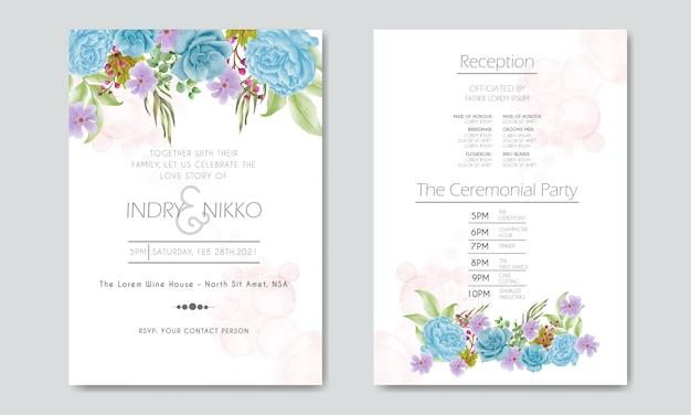 Zaproszenie na ślub z pięknym niebieskim i fioletowym kwiatem akwarela i liśćmi zieleni