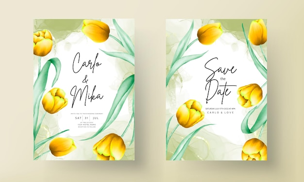 Zaproszenie na ślub z pięknym żółtym akwarelowym kwiatem tulipana