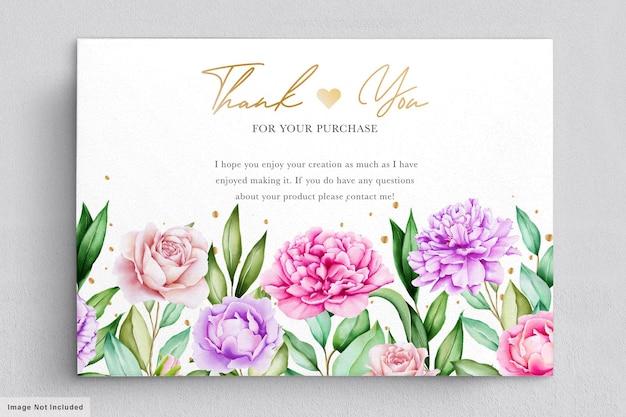 Zaproszenie na ślub z pięknymi bukietami kwiatów akwarela