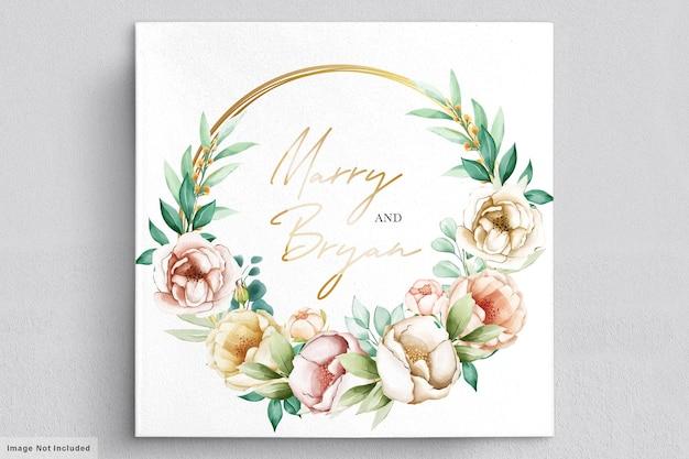Zaproszenie na ślub z pięknymi bukietami kwiatów i wieńcem akwarela