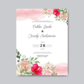 Zaproszenie na ślub z pięknymi i romantycznymi kwiatami