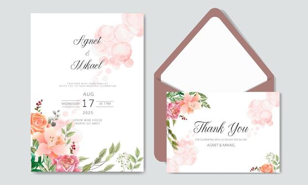 Zaproszenie na ślub z pięknymi i romantycznymi szablonami kwiatów