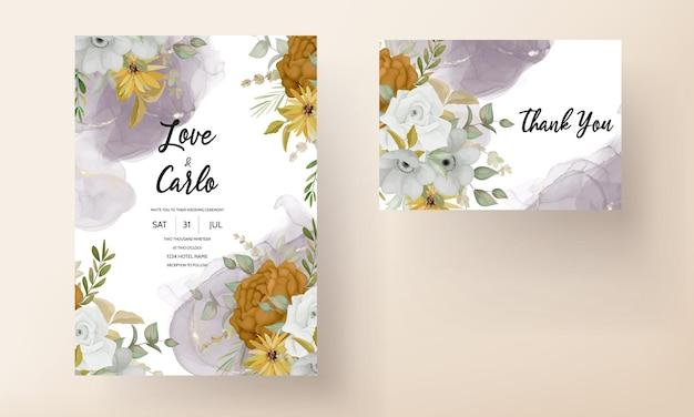 Zaproszenie na ślub z pięknymi jesiennymi kwiatami