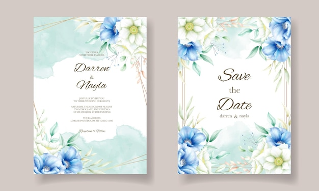 Zaproszenie na ślub z pięknymi kwiatami akwarela