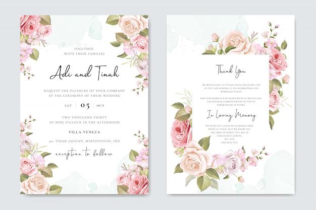 Zaproszenie na ślub z pięknymi kwiatami i liśćmi
