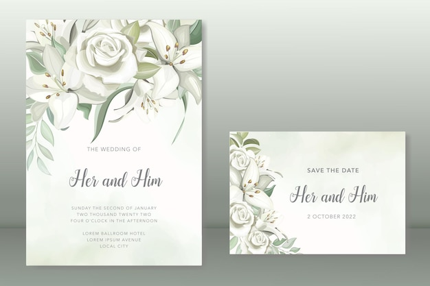 Zaproszenie na ślub z pięknymi liliami kwiatowymi