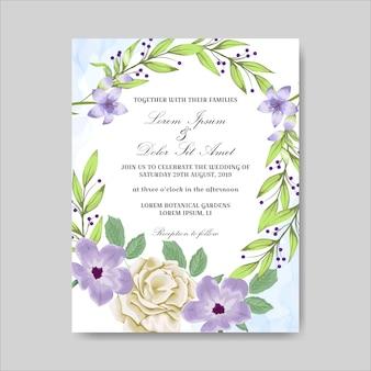Zaproszenie na ślub z pięknymi ręcznie rysowane kwiaty