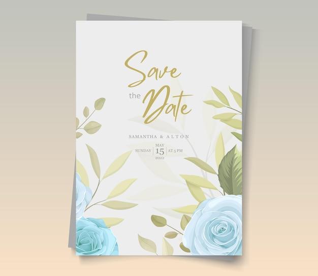 Zaproszenie na ślub z pięknymi różami i liśćmi