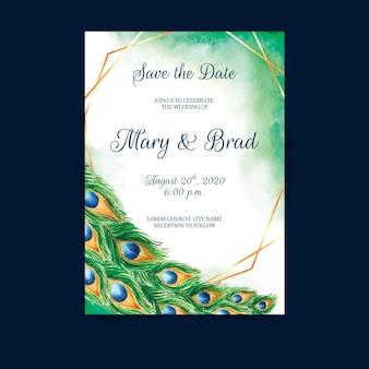 Zaproszenie na ślub z piórami pawia