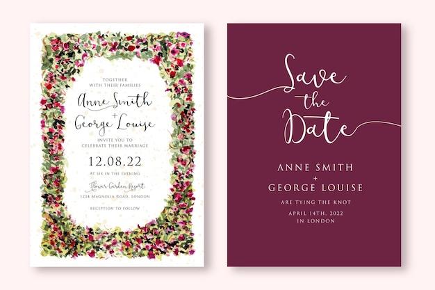 Zaproszenie na ślub z ramą akwarela kwiatowy ogród