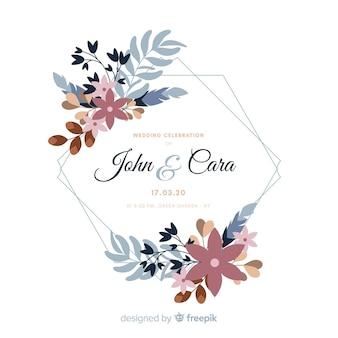 Zaproszenie na ślub z ramą akwarela kwiatowy