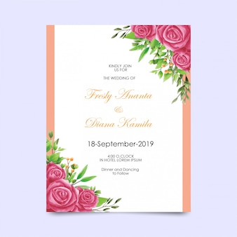 Zaproszenie na ślub z ramą akwarela w stylu róży