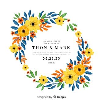Zaproszenie na ślub z ramą kwiatowy