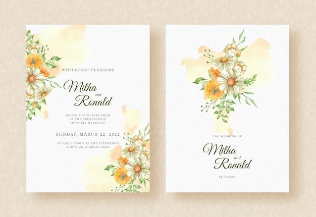 Zaproszenie na ślub z rogu bukiet kwiatów pomarańczowy rozchlapać akwarela tło