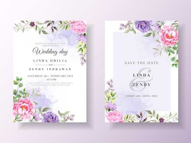 Zaproszenie na ślub z romantyczną akwarelą kwiatową