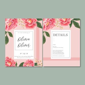 Zaproszenie na ślub z romantycznymi liśćmi