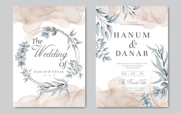 Zaproszenie na ślub z roślinnym motywem i złotą ramą