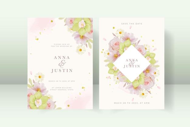 Zaproszenie na ślub z różą i zieloną orchideą