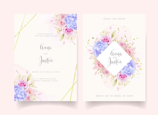 Zaproszenie na ślub z różami akwarelowymi i kwiatem niebieskiej hortensji