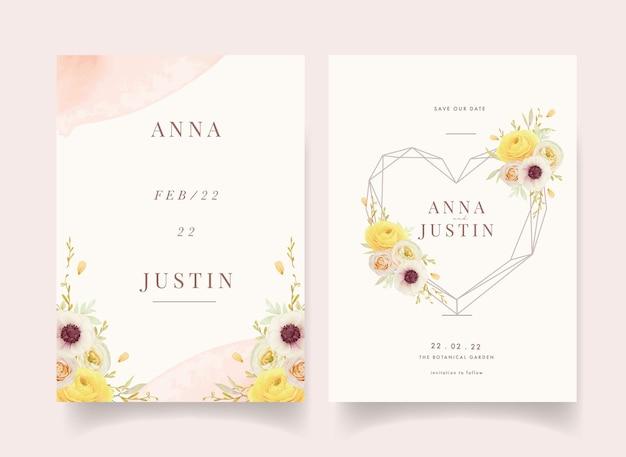 Zaproszenie na ślub z różami akwarelowymi jaskier i kwiatami zawilca
