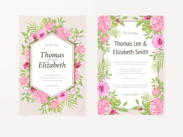 Zaproszenie na ślub z różami i liśćmi