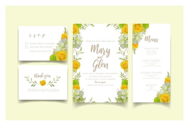 Zaproszenie na ślub z różami kwiatowymi i hortensją