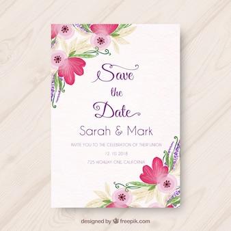 Zaproszenie na ślub z różnymi kwiatami akwarela