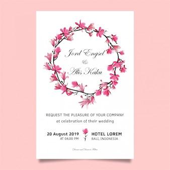 Zaproszenie na ślub z wiśniowych kwiatów