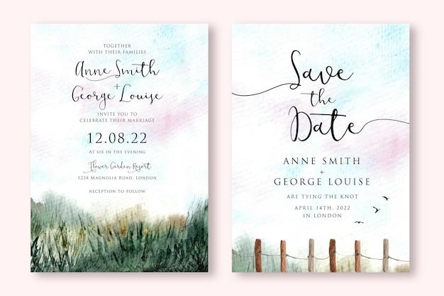 Zaproszenie na ślub z zieloną trawą pole krajobraz akwarela