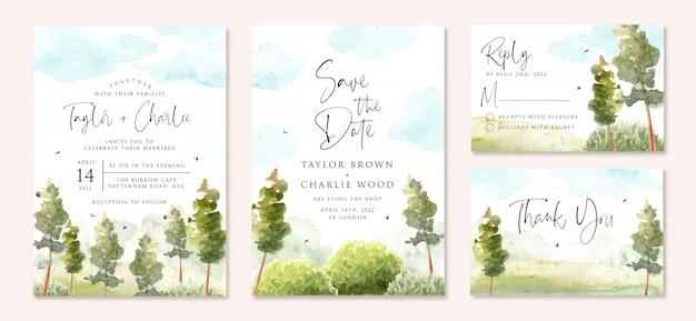 Zaproszenie na ślub z zielonym krajobrazem i akwarelą błękitnego nieba