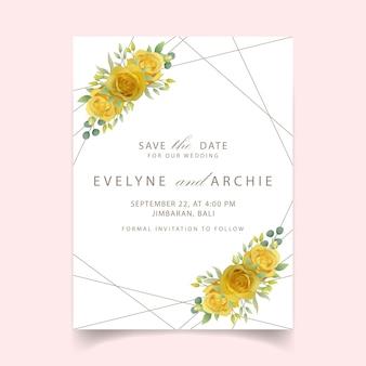 Zaproszenie na ślub z żółtą różą kwiatową