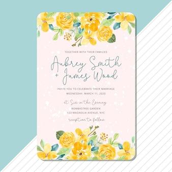 Zaproszenie na ślub z żółtym kwiatowy rama akwarela