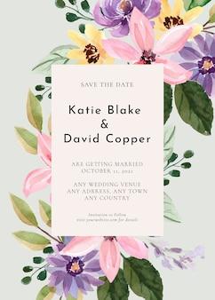 Zaproszenie na ślub z żółtymi kwiatami akwarela i fajnym zielonym tle