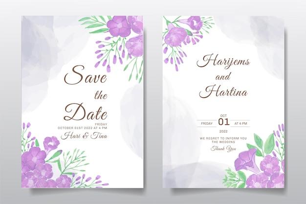 Zaproszenie na ślub z życzeniami z akwarela kwiat lub liście
