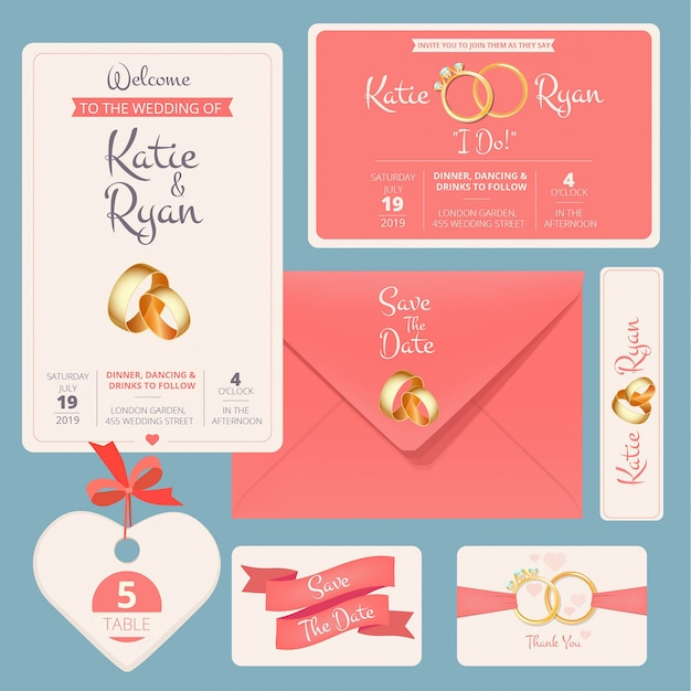 Zaproszenie na ślub. zapisz datę rocznicy para kart z szablonami banerów ślubnych symboli małżeństwa