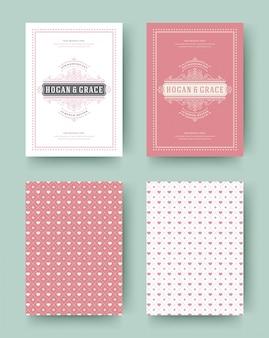 Zaproszenie na ślub zapisz daty karty rocznika szablon projektu typograficznego