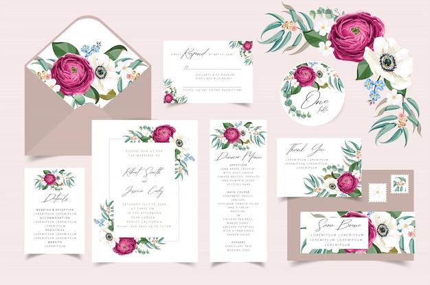 Zaproszenie na ślub, zapisz kartę z datą z ramą z bukietem kwiatów.