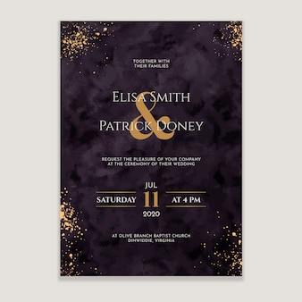 Zaproszenie na ślub ze złotymi splatters