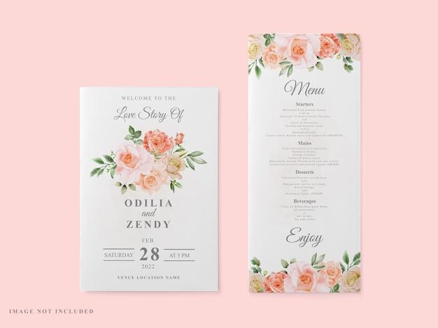 Zaproszenie na ślub zestaw czerwona róża wzór