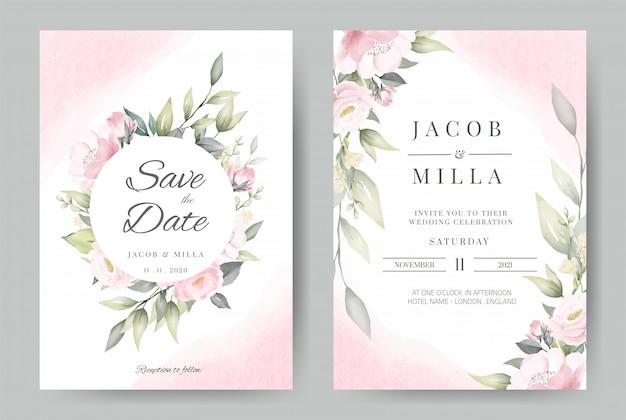 Zaproszenie na ślub zestaw szablonu karty wieniec projekt z akwarela bukiet kwiatów róży.