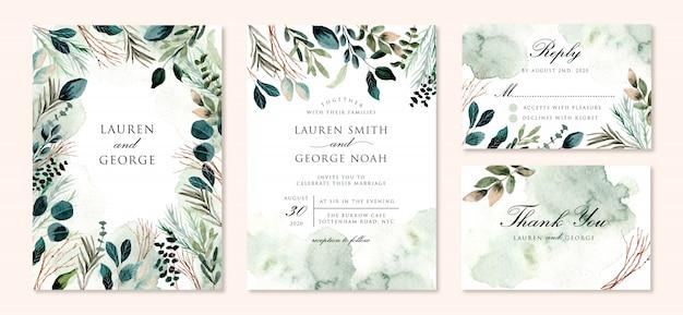 Zaproszenie na ślub zestaw z zielonymi liśćmi oddziałów akwarela