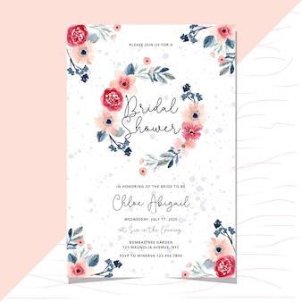 Zaproszenie na ślubny prysznic z akwarela wieniec kwiatowy