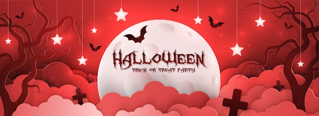 Zaproszenie na święta halloween w stylu papierowym.