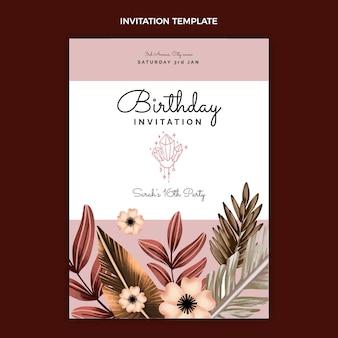 Zaproszenie na urodziny akwarela boho