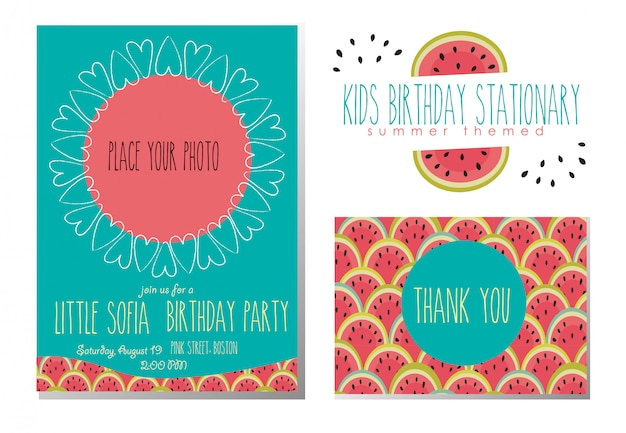 Zaproszenie na urodziny dla dzieci i dziękuję karty