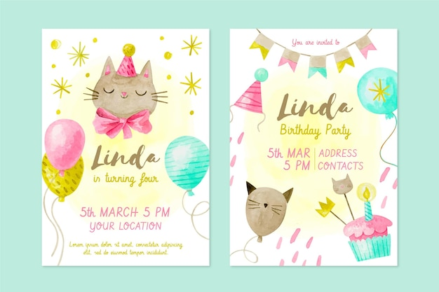 Zaproszenie na urodziny dla dzieci w akwareli