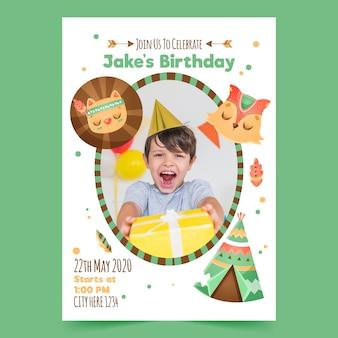 Zaproszenie na urodziny dla dzieci z szablonem fotograficznym